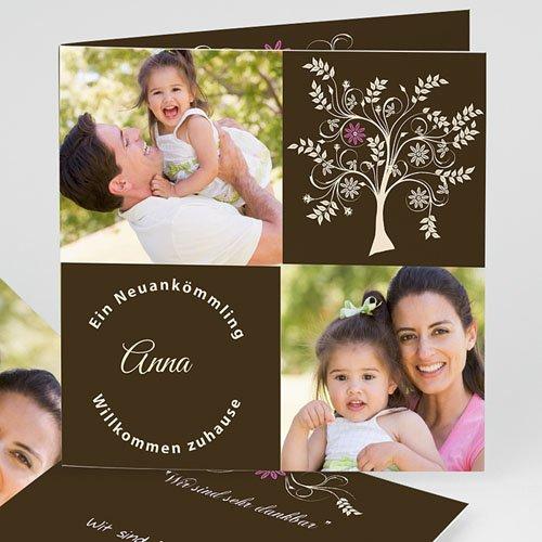 Adoptionskarten für Mädchen - Adoption braun Baum 23763
