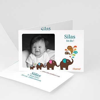 Babykarten für Jungen - Babykarte Elefant - 1