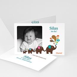 Geburtskarten für Jungen Elefant grau