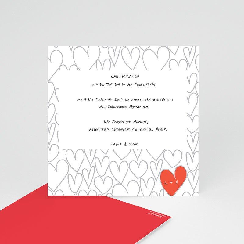 Einlegekarte individuell Gezeichnete Herzen
