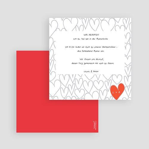 Einlegekarte individuell Gezeichnete Herzen gratuit