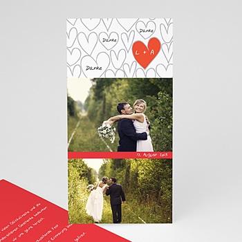 Danksagungskarten Hochzeit  - Gezeichnete Herzen - 1