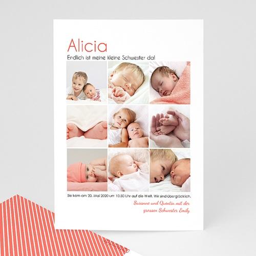 Geburtskarten für Mädchen - Fotoreihe Geschwister 24672