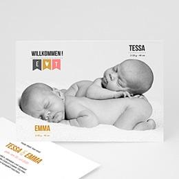 Karten Geburt Zwillingsfoto