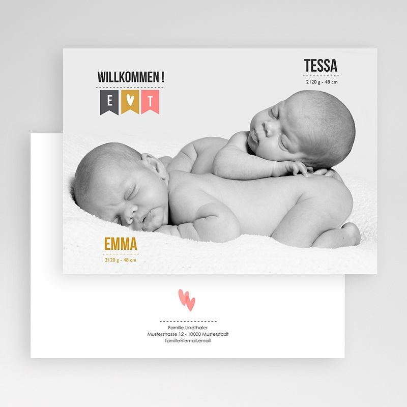 Geburtskarten für Zwillinge Zwillingsfoto gratuit