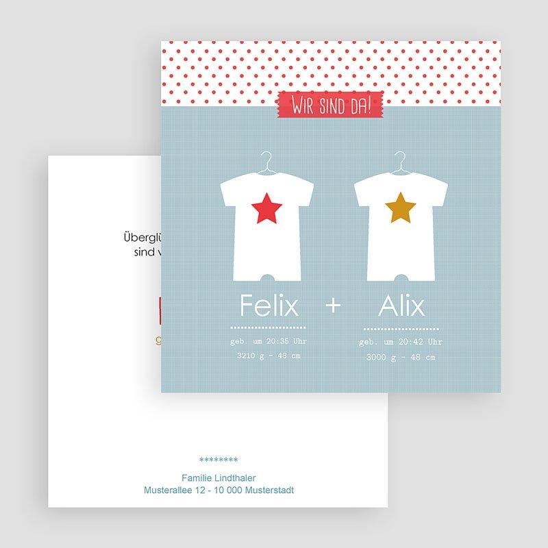 Geburtskarten für Zwillinge Babybodys gratuit