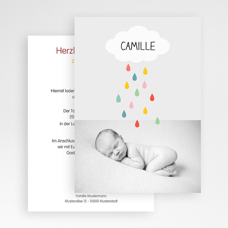 Einladungskarten Taufe für Mädchen Regenbogenfarben gratuit
