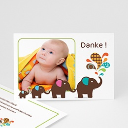 Dankeskarten Geburt Jungen - Babykarte Elefant - 1