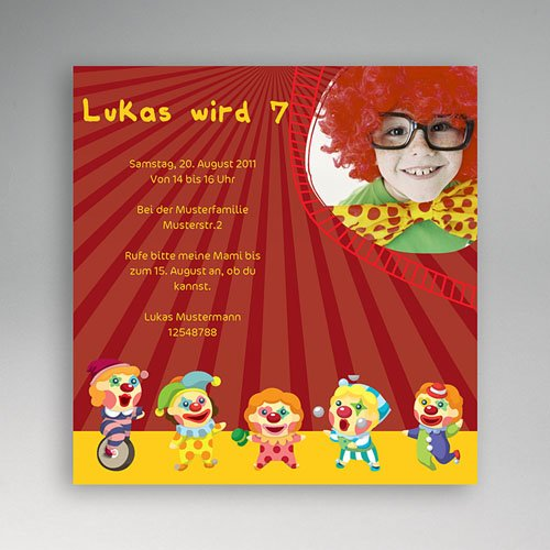 Geburtstagseinladungen Jungen - Clown 2818