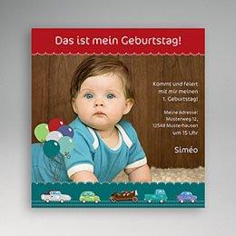 Einlegekarte Kindergeburtstag Autos