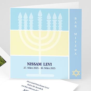Bar Mitzwah Einladung - Bar Mitzva Menorah - 1