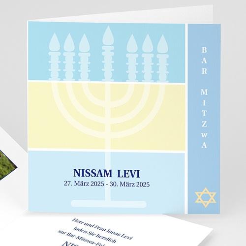 Bar Mitzwah Einladung - Menorah 3104