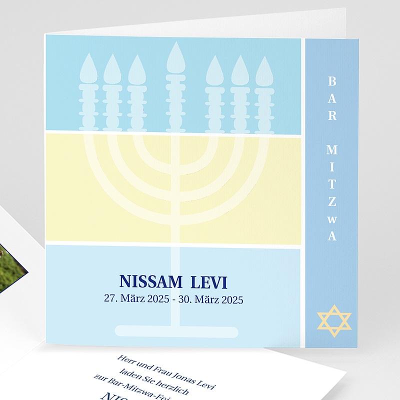 Bar Mitzwah Einladung - Menorah 3104 thumb