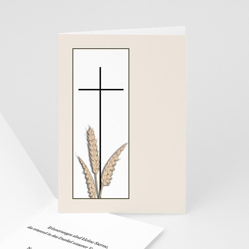 Trauer Danksagung christlich - Kreuz mit Ähren im Rahmen 3224 thumb