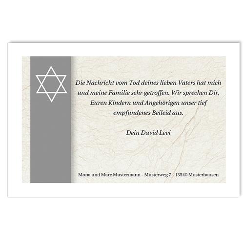 Israelitisch Dankeskarten Trauer Davidsstern