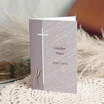 Trauer Danksagung christlich - Kreuz mit Weizenähren - 1