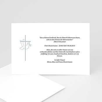 Trauer Danksagung christlich - Friedenstaube - 1