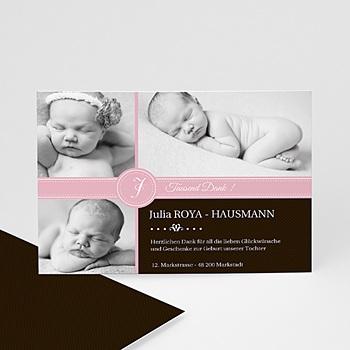 Dankeskarten Geburt Mädchen - babykarte pink S/W - 1
