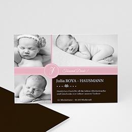 Dankeskarten Geburt Mädchen Pink s w