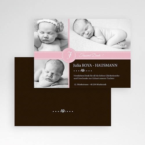 Dankeskarten Geburt Mädchen - Pink s w 332 preview