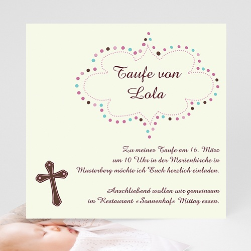 Einladungskarten Taufe Mädchen - Eve 3380