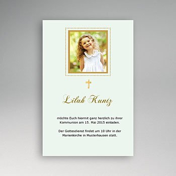 Einladungskarten Kommunion Mädchen Goldene Einladung