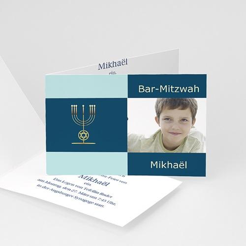 Bar Mitzwah Einladung - Schlicht blau 3472 thumb