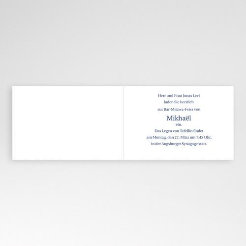 Bar Mitzwah Einladung - Schlicht blau 3473 thumb
