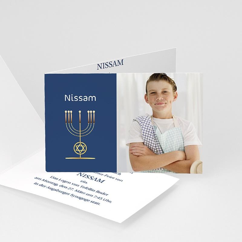 Einladungskarten Bar Mitzwah Blauton