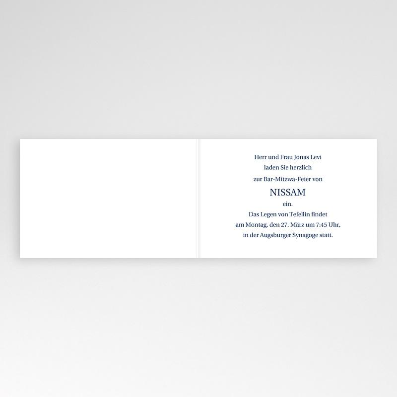 Einladungskarten Bar Mitzwah Blauton pas cher