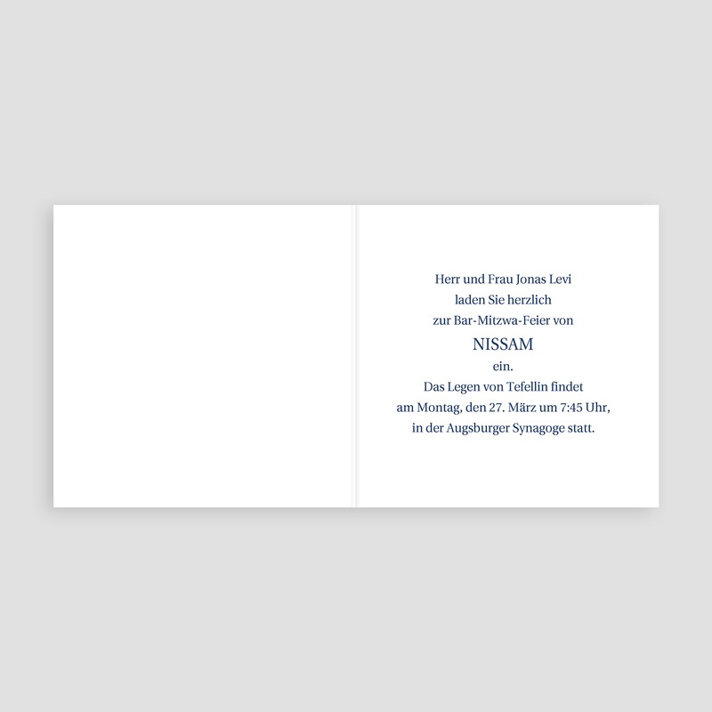 Einladungskarten Bar Mitzwah Samuel pas cher