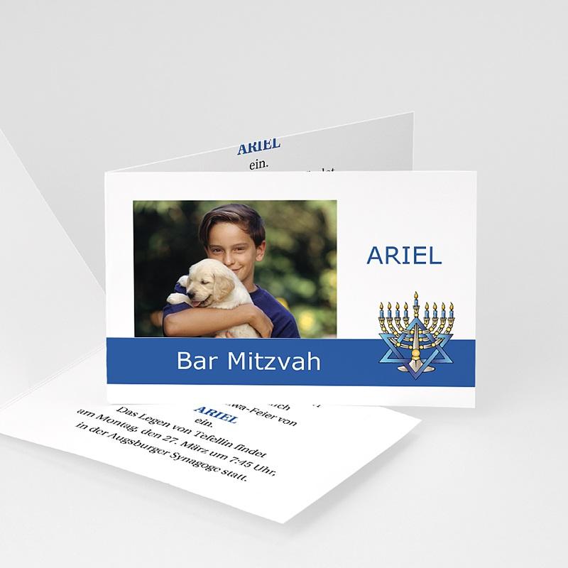 Einladungskarten Bar Mitzwah Blaues Band