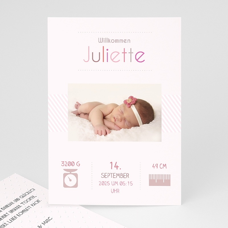 Geburtskarten für Mädchen Rose chic