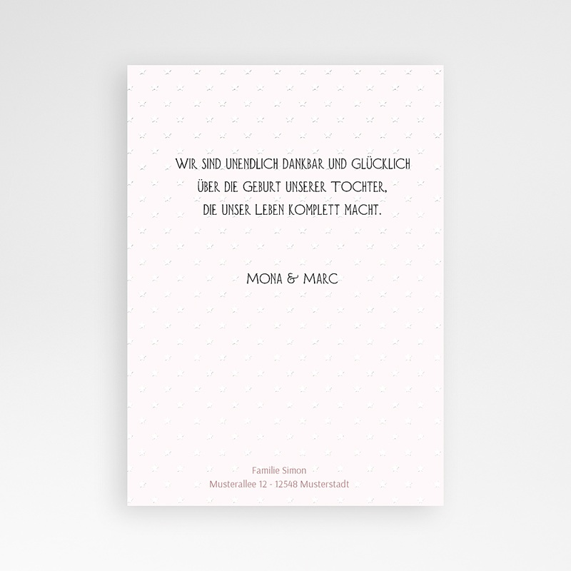 Geburtskarten für Mädchen Rose chic pas cher