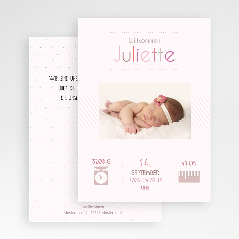Geburtskarten für Mädchen Rose chic gratuit