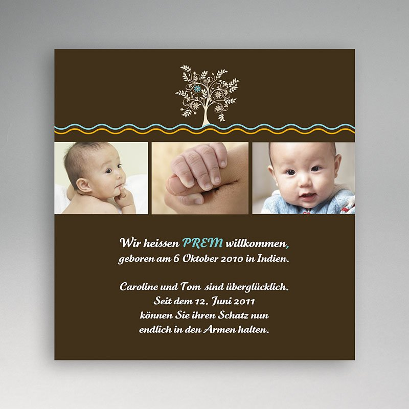 Adoptionskarten für Jungen Baum