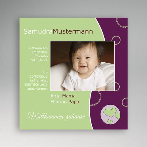 Adoptionskarten für Mädchen - Violett 3560