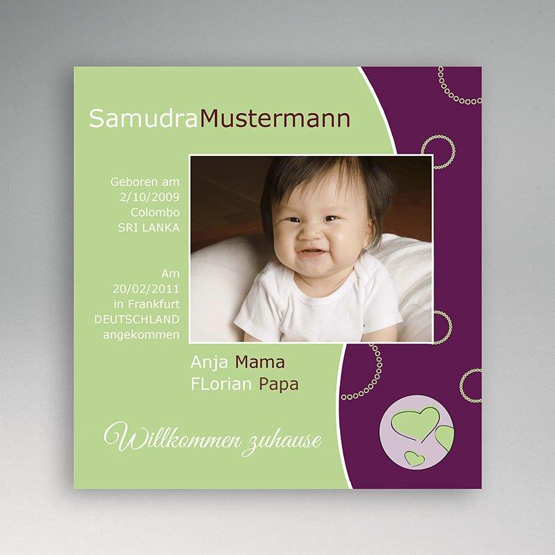 Adoptionskarten für Mädchen Violett