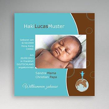 Adoptionskarten für Jungen - Adoption blau braun - 1