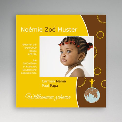 Adoptionskarten für Mädchen - Gelb braun 3568 thumb