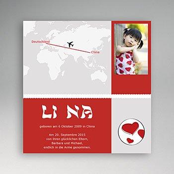Adoptionskarten für Mädchen - Adoption rot und grau - 1