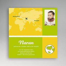 Adoptionskarten für Mädchen - Adoption grün und gelb - 1