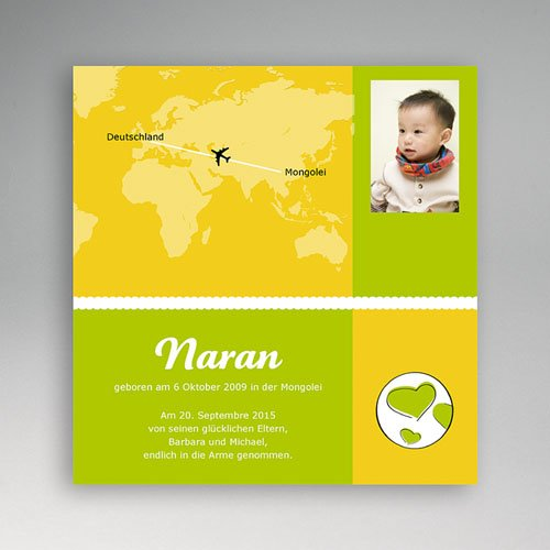 Adoptionskarten für Mädchen - Grun und gelb 3580 test