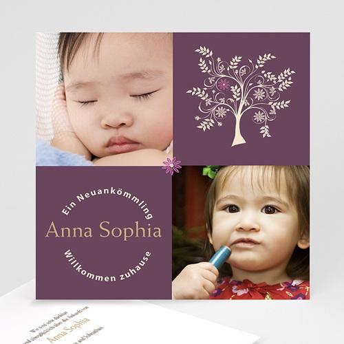 Adoptionskarten für Mädchen Braun baum