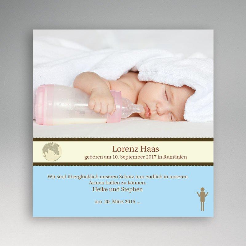 Adoptionskarten für Jungen Blauton