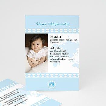 Adoptionskarten für Jungen - Liebe ohne Grenzen blau - 1