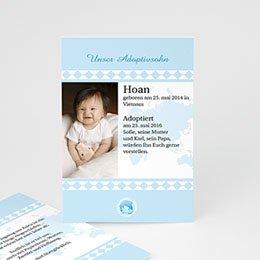 Adoptionskarten für Jungen Liebe ohne Grenzen blau