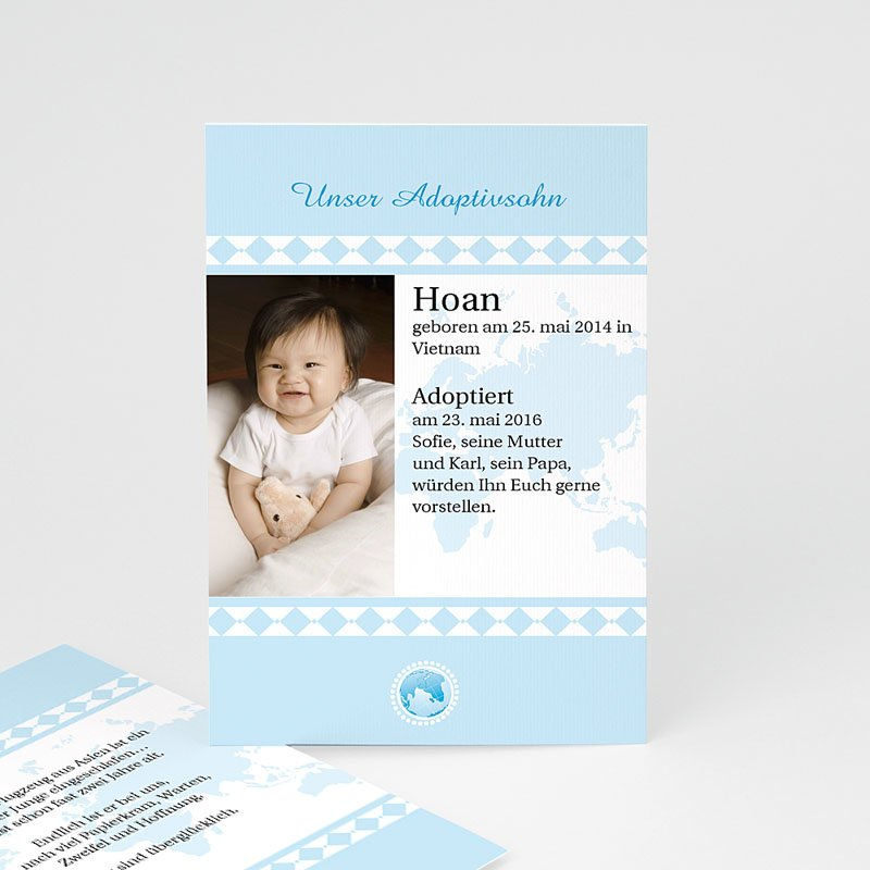 Adoptionskarten für Jungen - Liebe ohne Grenzen blau 3624 thumb