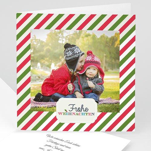 Weihnachtskarten - Gestreift rot grün  36257
