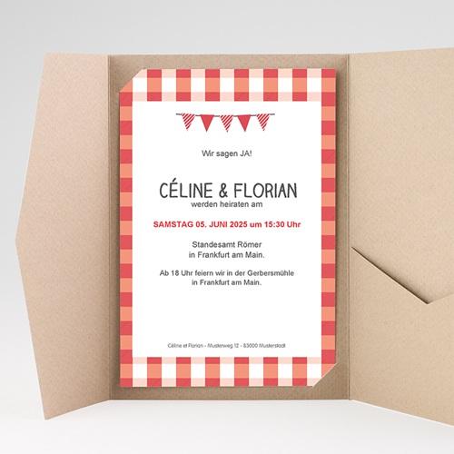 Hochzeitskarten Querformat - Ambiente Vichy 36926 test